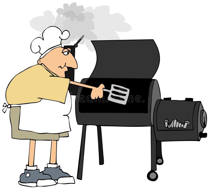 Hombre en pantalones cortos que cocina en una parrilla del fumador stock de ilustración