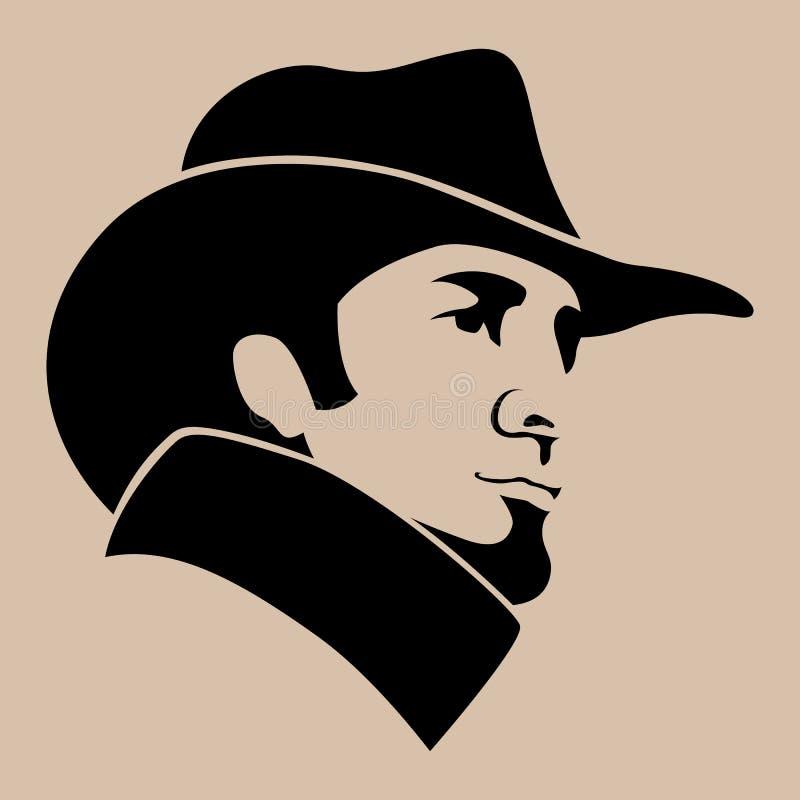 Hombre en perfil plano del estilo del ejemplo del vector de la cara del sombrero ilustración del vector