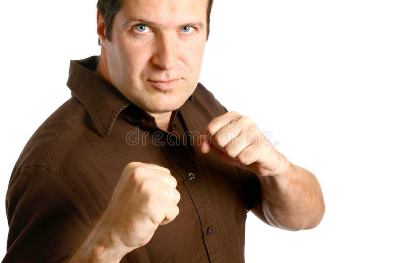 Hombre en postura del boxeo fotos de archivo libres de regalías