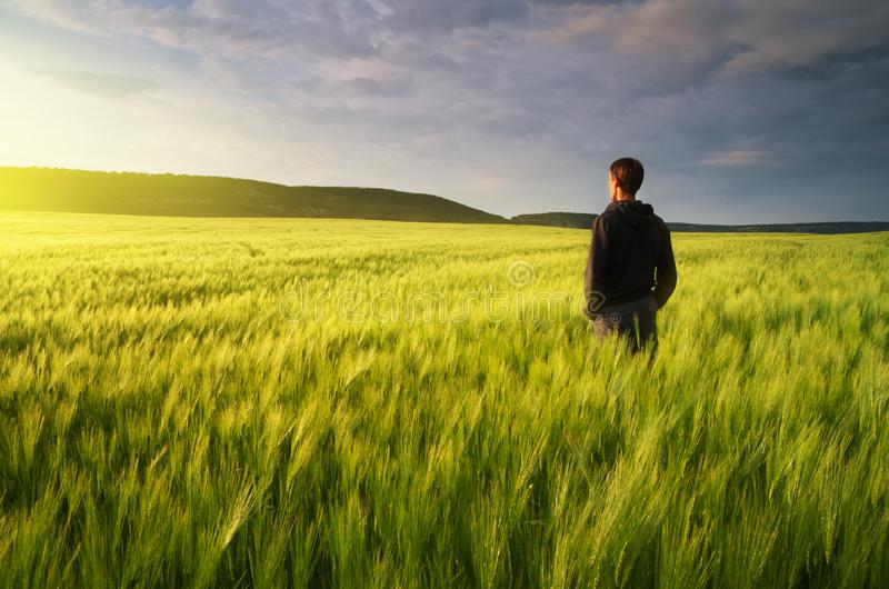 Hombre en prado del verde del prado imagenes de archivo