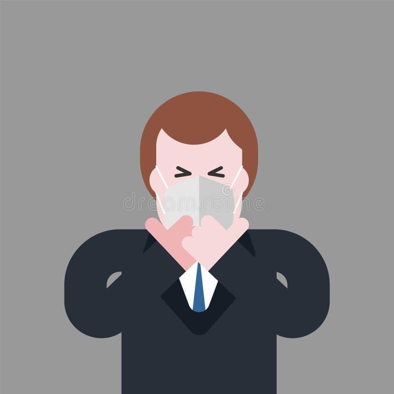 Hombre en respirador Individuo en máscara del aire contaminado del polvo Envi ilustración del vector