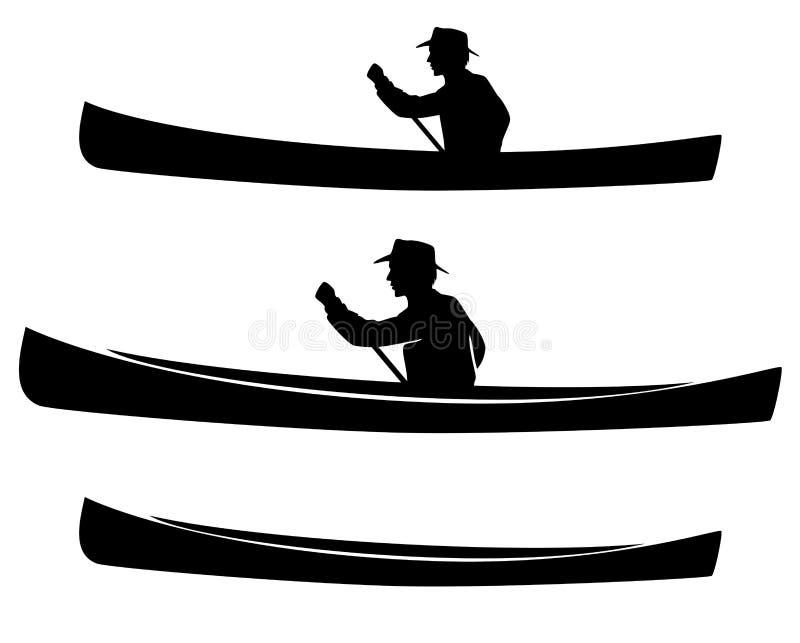 Hombre en sistema de la silueta del vector del negro del barco de la canoa libre illustration