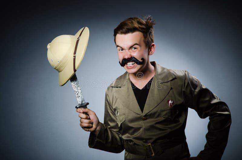 Hombre en sombrero del safari imagen de archivo