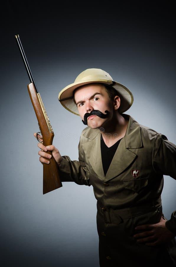 Hombre en sombrero del safari fotografía de archivo libre de regalías