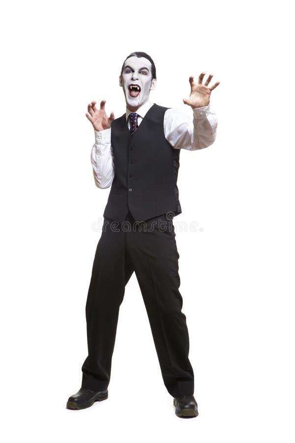 Hombre en traje de la alineada de lujo de Drácula foto de archivo