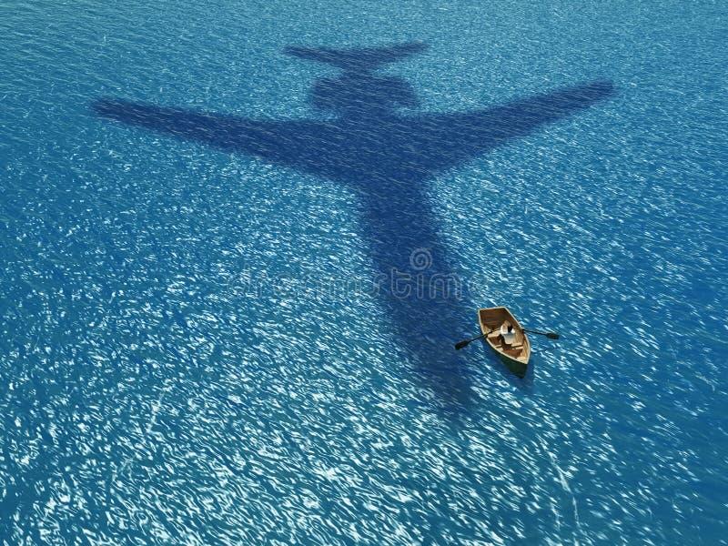 Hombre en un barco bajo avión del vuelo stock de ilustración