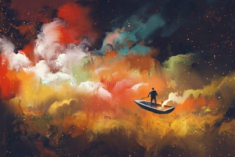 Hombre en un barco en el espacio exterior ilustración del vector