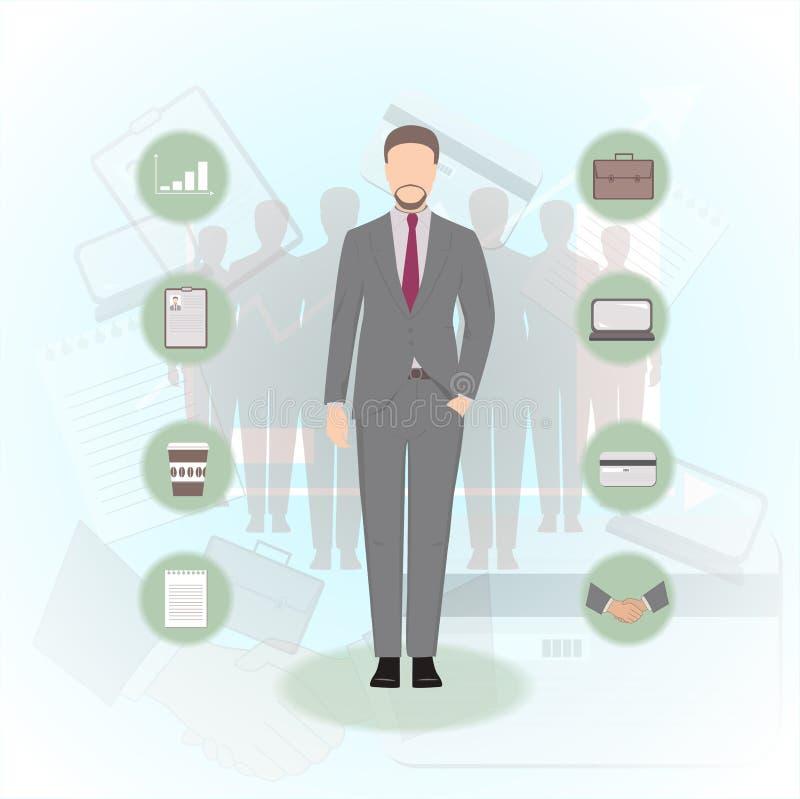 Hombre en un ejemplo del vector del traje de negocios libre illustration
