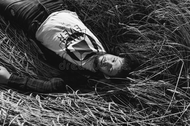 Hombre en un fondo de los campos del paisaje foto de archivo libre de regalías