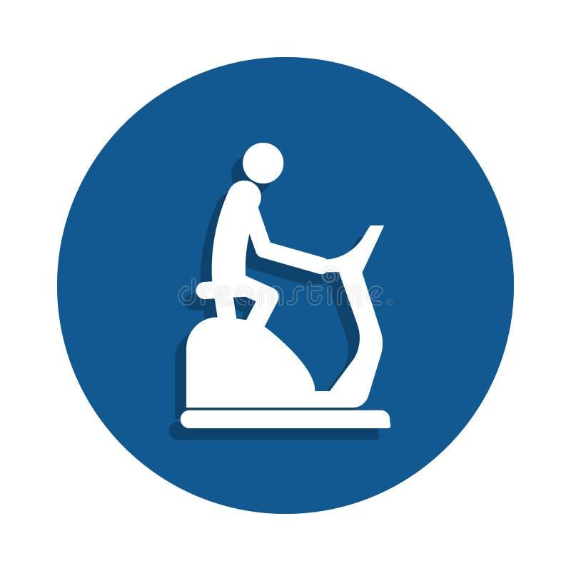 hombre en un icono inmóvil de la bici en estilo de la insignia Uno del icono de la colección del deporte se puede utilizar para U libre illustration