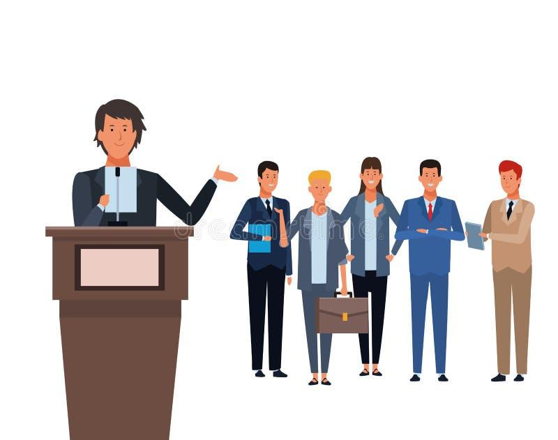 Hombre en un podio con la audiencia ilustración del vector