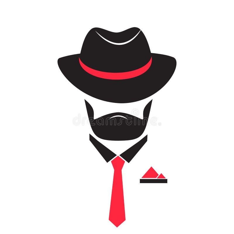 Hombre en un sombrero y un lazo Caballero en estilo de la mafia stock de ilustración
