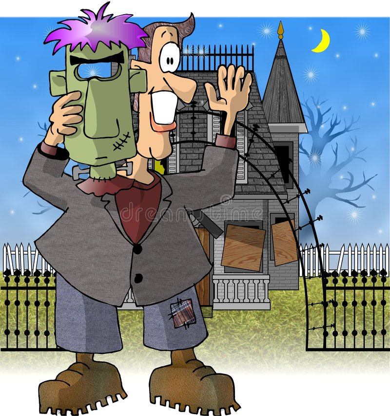 Hombre en un traje de Frankenstein ilustración del vector
