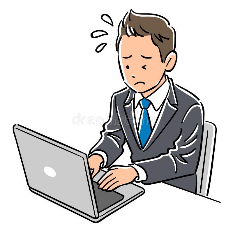 Hombre en un traje que act?a un ordenador port?til, impaciencia libre illustration