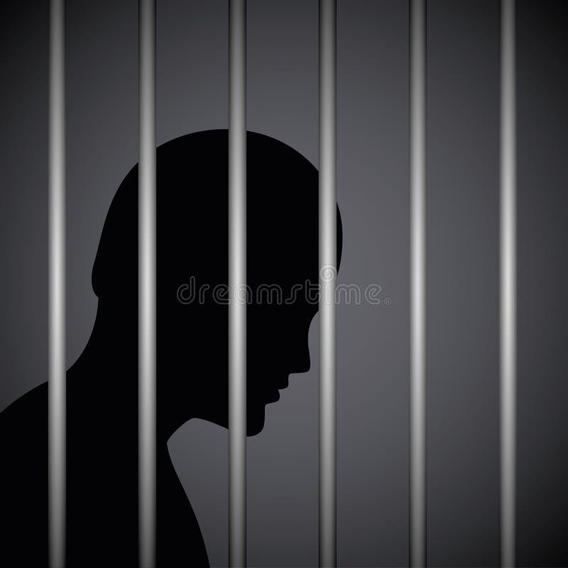 Hombre en una prisión detrás de la silueta de las barras de la cárcel ilustración del vector