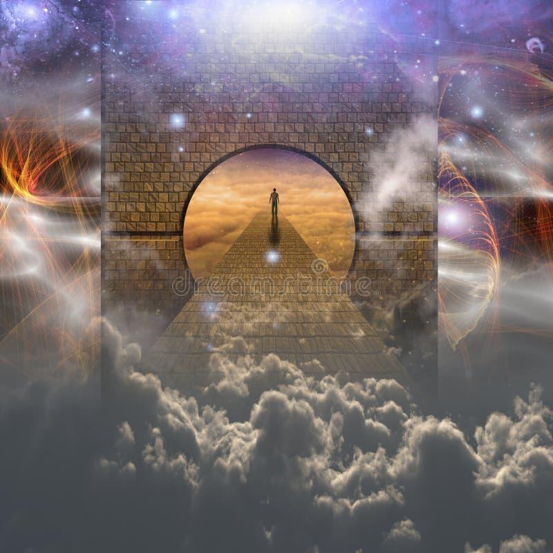 Hombre en viaje espiritual ilustración del vector