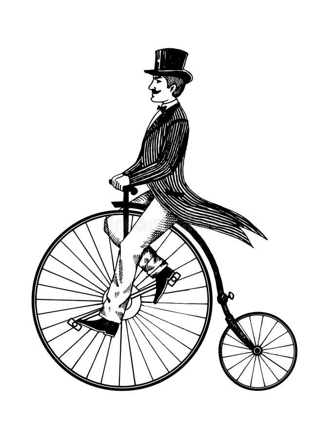 Hombre en viejo vector del grabado de la bicicleta del vintage retro ilustración del vector