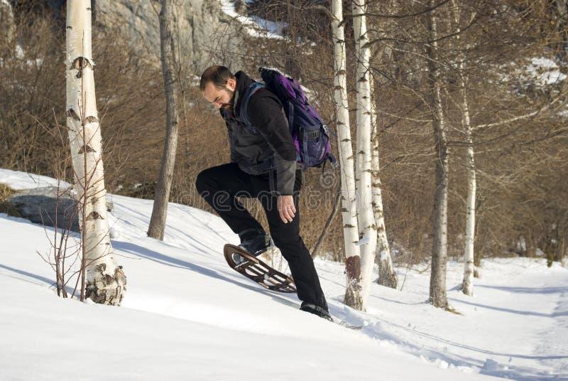 Hombre en zapatos de la nieve imágenes de archivo libres de regalías