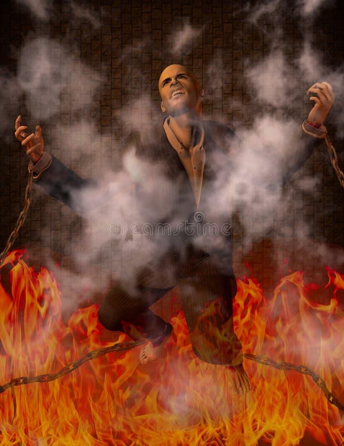 Hombre encadenado en infierno stock de ilustración