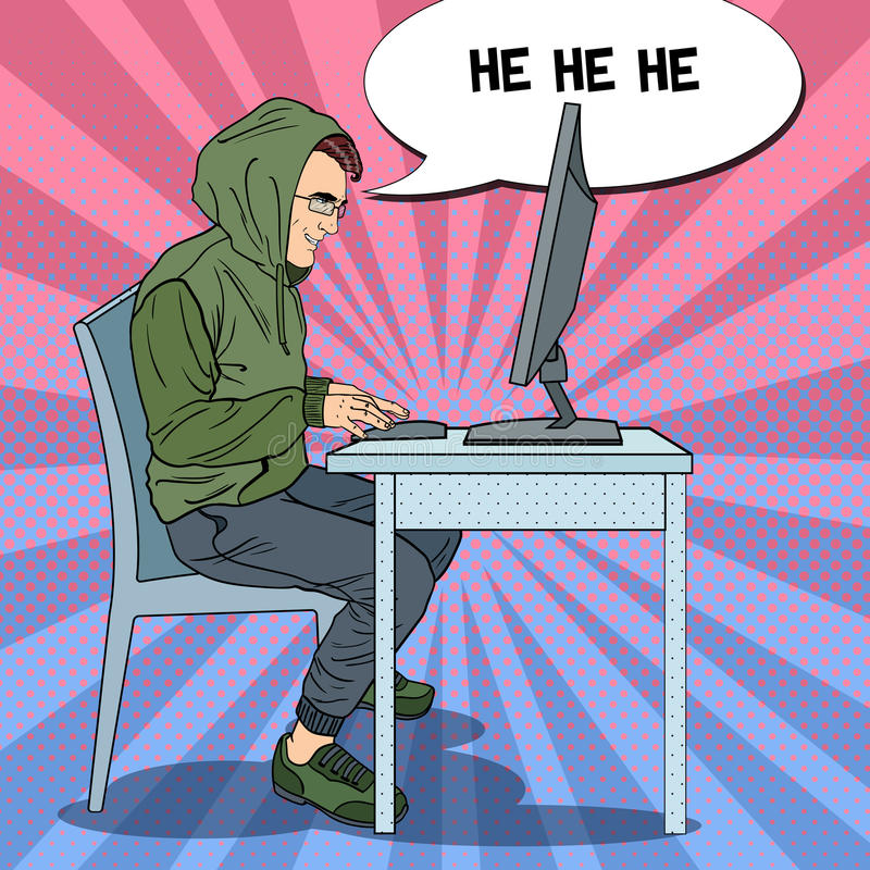 Hombre encapuchado del pirata informático que roba datos del ordenador Ataque cibernético Ejemplo retro del arte pop stock de ilustración