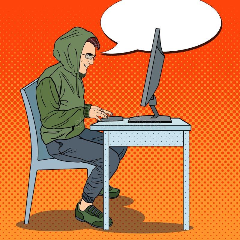 Hombre encapuchado del pirata informático que roba datos del ordenador Crimen cibernético Ejemplo retro del arte pop libre illustration