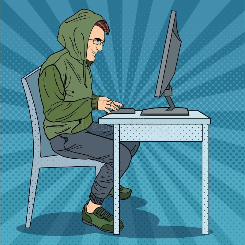 Hombre encapuchado del pirata informático que roba la información del ordenador Crimen cibernético Ejemplo retro del arte pop ilustración del vector