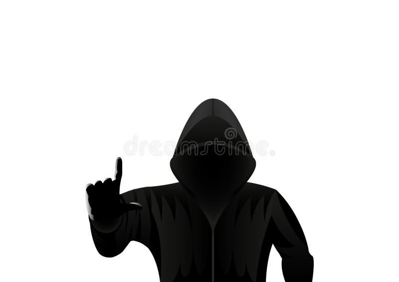 Hombre encapuchado, pirata informático aislado en un fondo blanco stock de ilustración