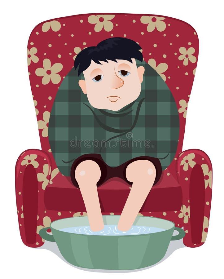 Hombre enfermo aislado stock de ilustración