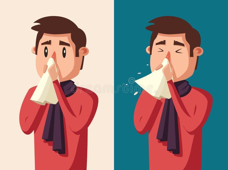 Hombre enfermo Carácter infeliz Ilustración de la historieta del vector stock de ilustración