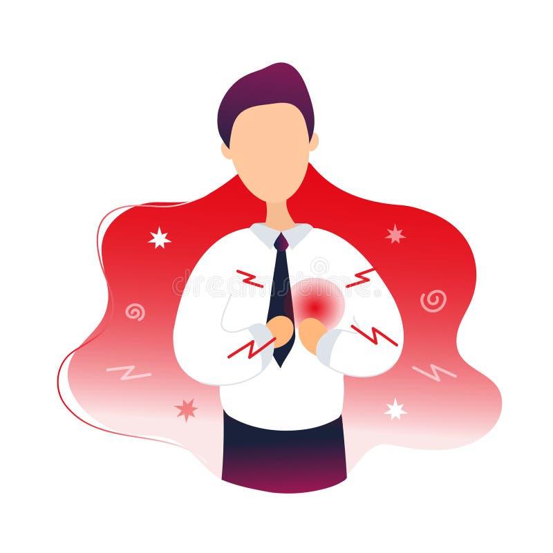 Hombre enfermo con dolor del coraz?n stock de ilustración