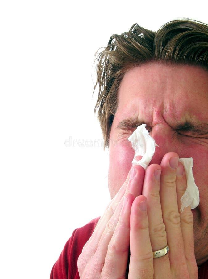 Hombre enfermo con el tejido fotos de archivo