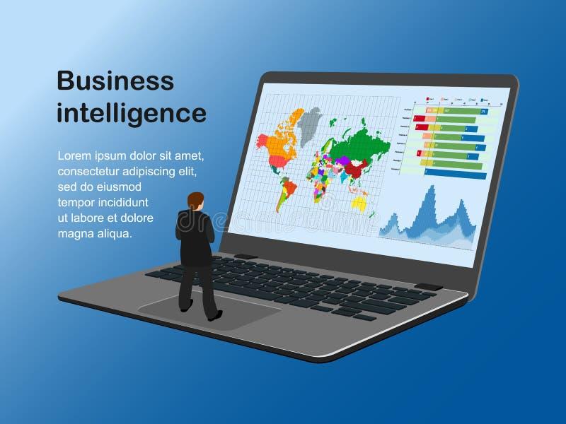 Hombre enfermo de la inteligencia empresarial en txt de la nota stock de ilustración