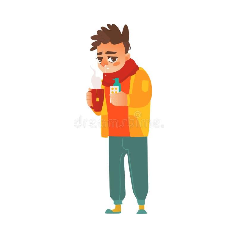 Hombre enfermo del vector que sufre de mocos stock de ilustración