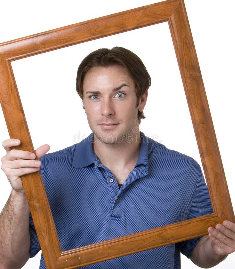 Hombre enmarcado imagenes de archivo