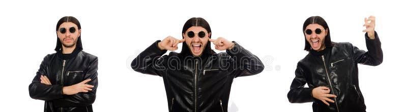 Hombre enojado agresivo aislado en blanco imagenes de archivo