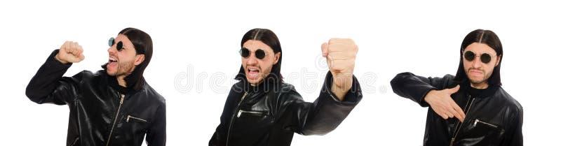 Hombre enojado agresivo aislado en blanco imagen de archivo libre de regalías