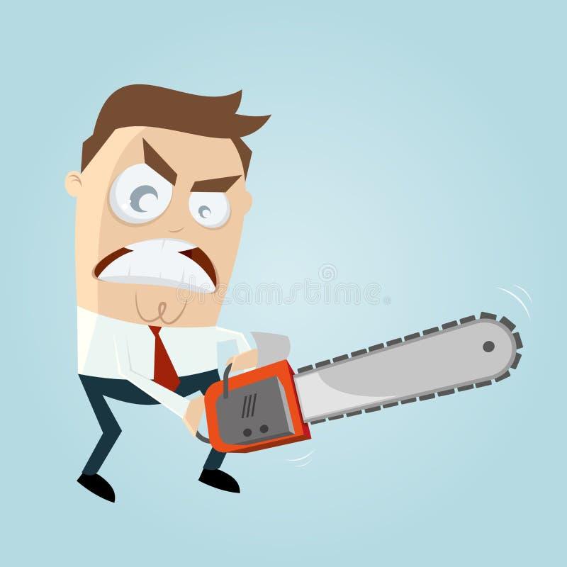 Hombre enojado con la motosierra ilustración del vector