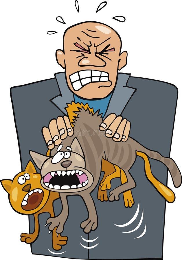 Hombre enojado con los gatos ilustración del vector