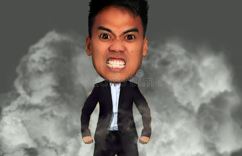 Hombre enojado con una cabeza grande imagen de archivo libre de regalías