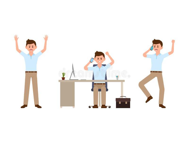 Hombre enojado de la oficina que habla en personaje de dibujos animados del teléfono Ejemplo del vector del director de grito stock de ilustración