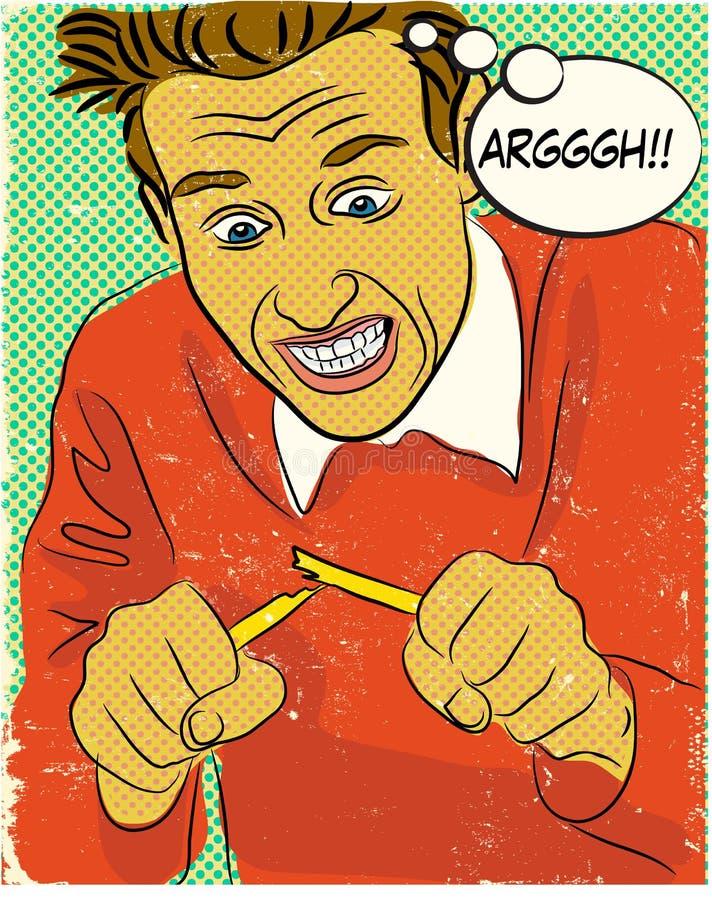 Hombre enojado del cómic stock de ilustración