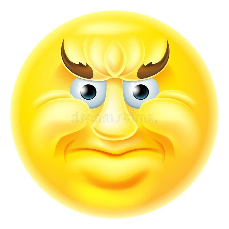 Hombre enojado del Emoticon de Emoji stock de ilustración