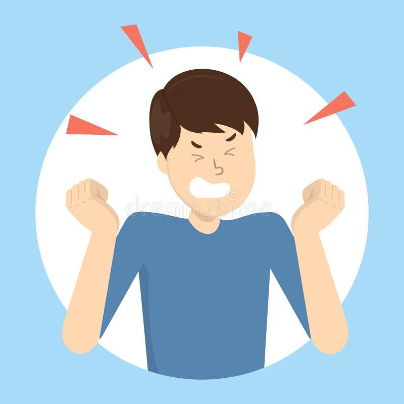 Hombre enojado Malas emoción y expresión en la cara stock de ilustración