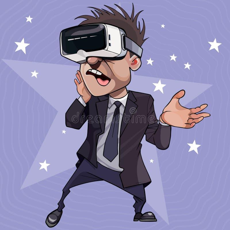 Hombre entusiasta de la historieta en vidrios de realidad virtual stock de ilustración