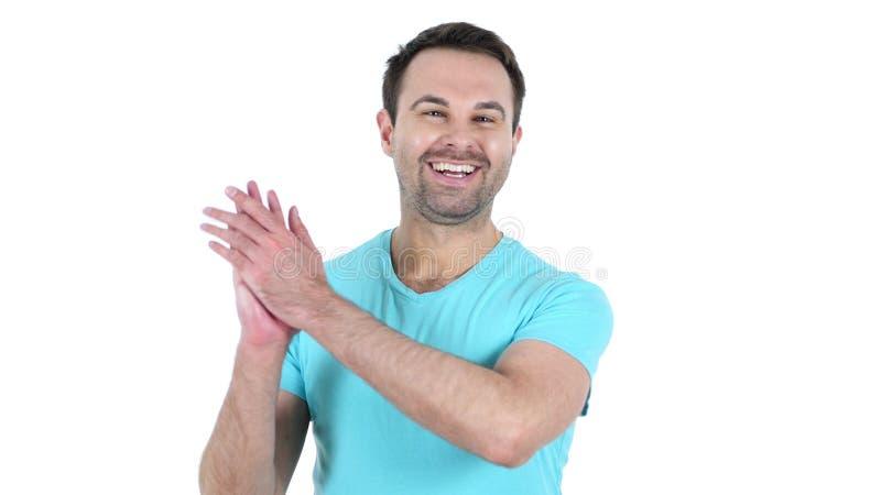 Hombre envejecido centro que aplaude, fondo blanco fotografía de archivo libre de regalías