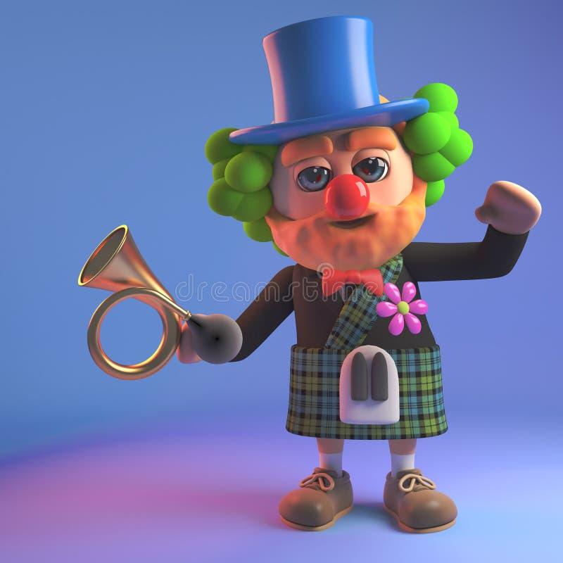 Hombre escocés divertido en vestidos de la falda escocesa como payaso con el cuerno de coche, ejemplo 3d libre illustration