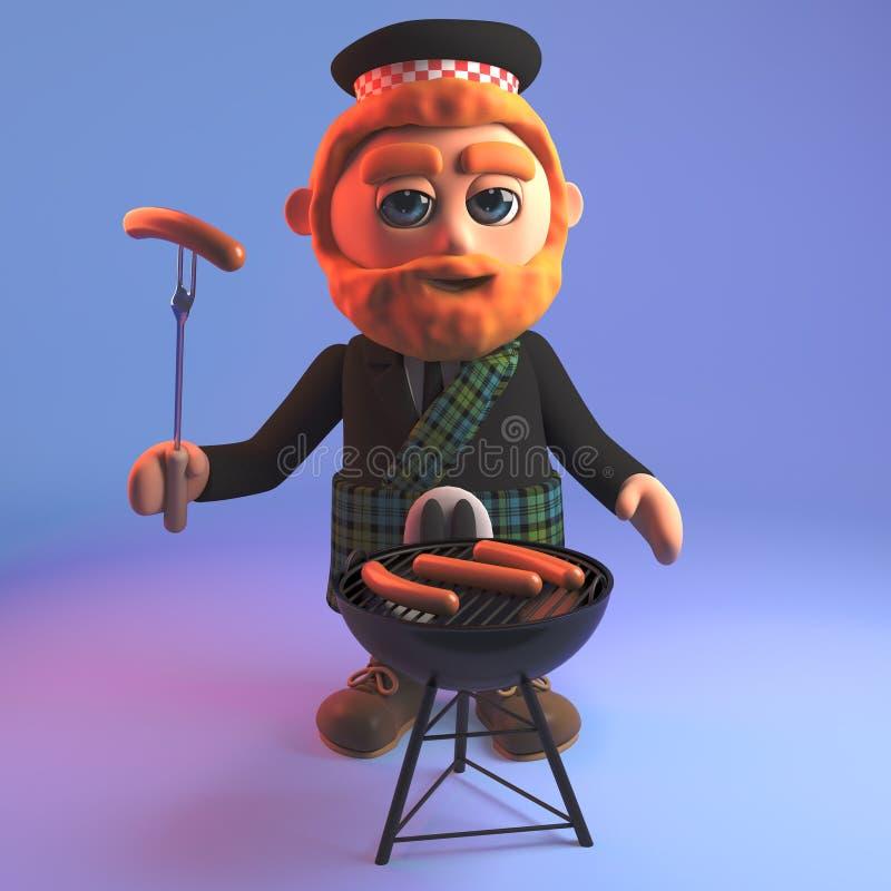 Hombre escocés hambriento en salchichas de los cocineros de la falda escocesa del tartán en el Bbq de la barbacoa, ejemplo 3d ilustración del vector