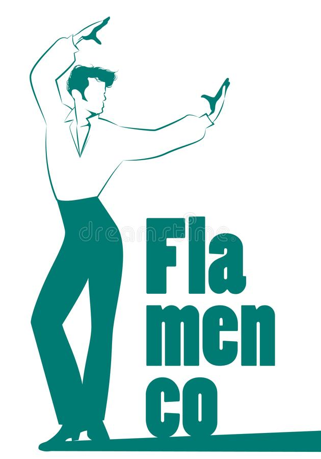 Hombre español del bailarín del flamenco aislado en el fondo blanco ilustración del vector