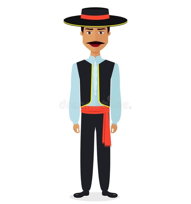Hombre español en el ejemplo plano del traje del vector nacional tradicional del vestido aislado stock de ilustración