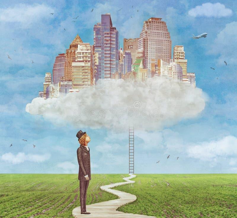 Hombre esperanzado joven que mira al futuro ilustración del vector
